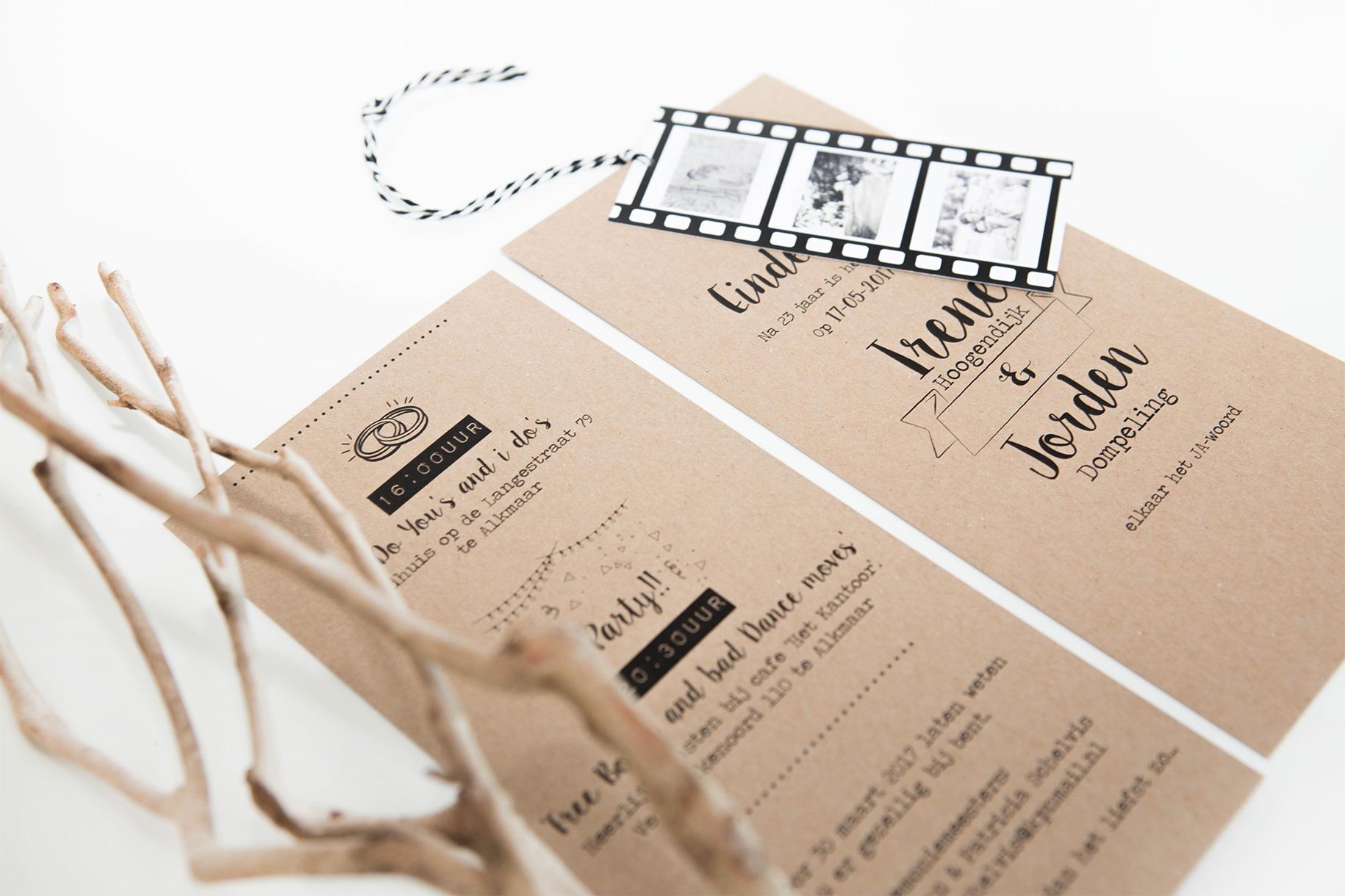 Beroemd Trouwkaart met filmstrip op Tritratrouwkaarten.nl &AF73