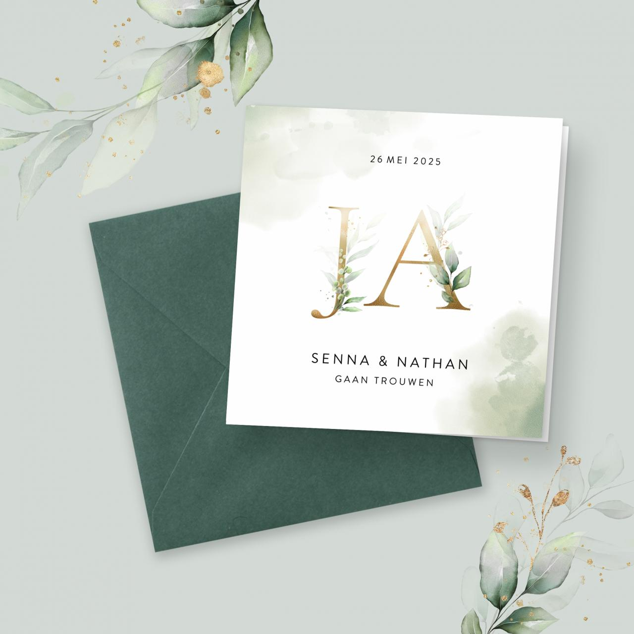 Stijlvolle trouwkaart met waterverf en JA trouwkaart Botanisch Aquarel en Watercolor Brons zilver en goud Romantisch