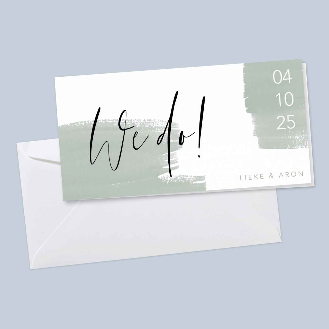 Chique we do trouwkaart met groene verf trouwkaart Aquarel en Watercolor Stoer Origineel Typografisch