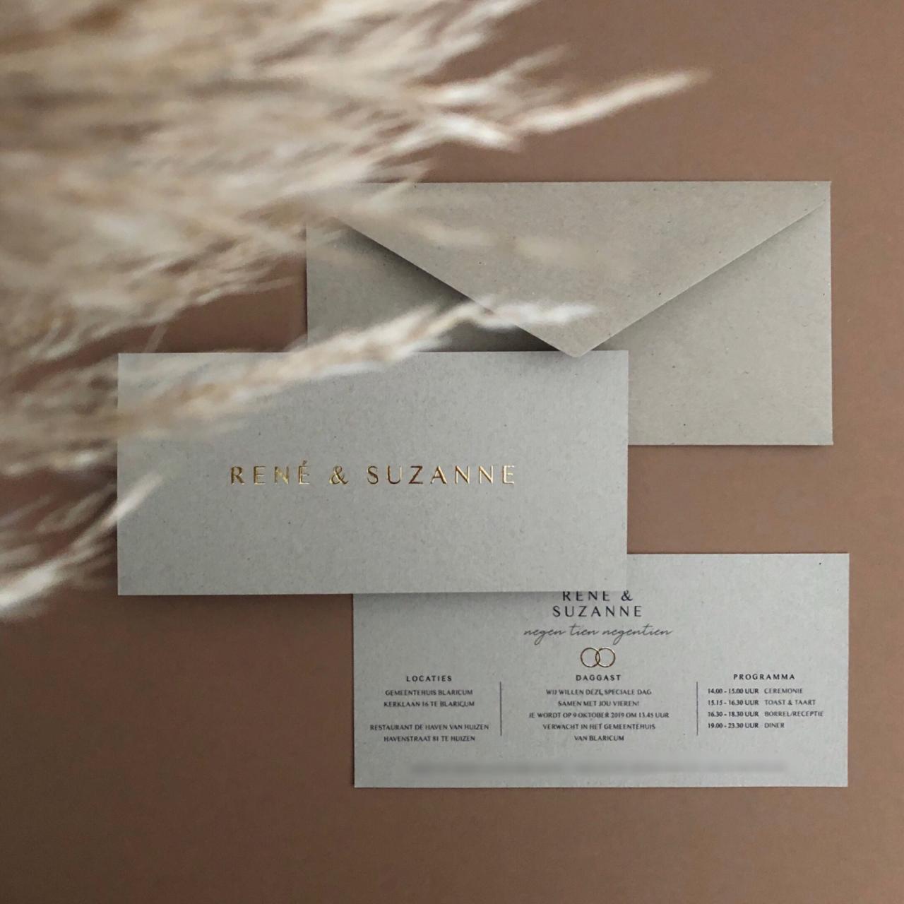 Trouwkaart René en Suzanne trouwkaart Brons zilver en goud