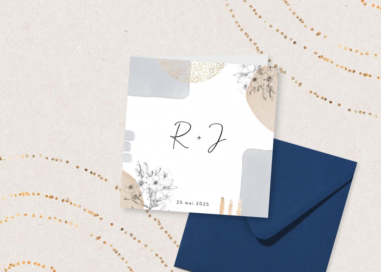 Vierkante trouwkaart met abstracte vormen en botanische tekeningen trouwkaart Stijlvol Botanisch Aquarel en Watercolor Gevouwen