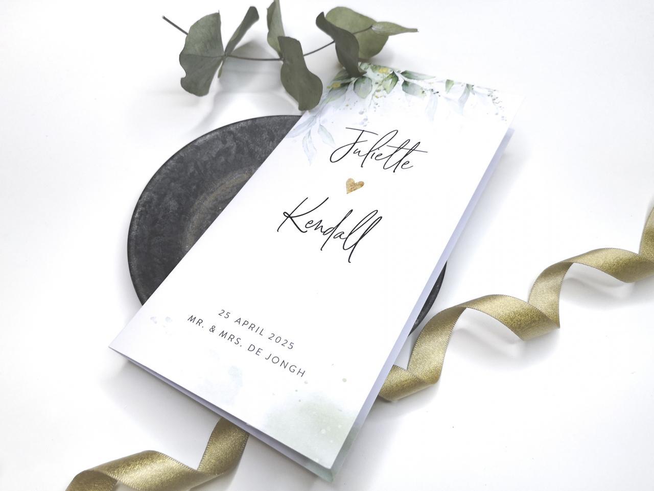 Trouwkaart met bladeren en spetters trouwkaart Stijlvol Aquarel en Watercolor Romantisch Botanisch