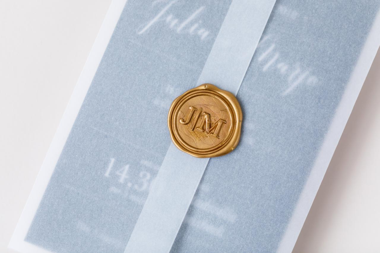Transparante drieluik met persoonlijke lakstempel trouwkaart Klassiek Modern Origineel Transparant