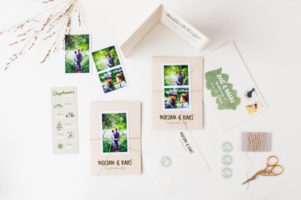 Eco trouwkaart met fotostrip trouwkaart Foto Modern Stoer Origineel