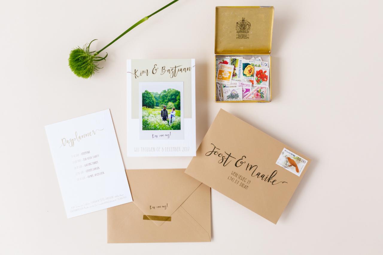 Trouwkaart met polaroid foto trouwkaart Foto Handgemaakt Origineel Romantisch