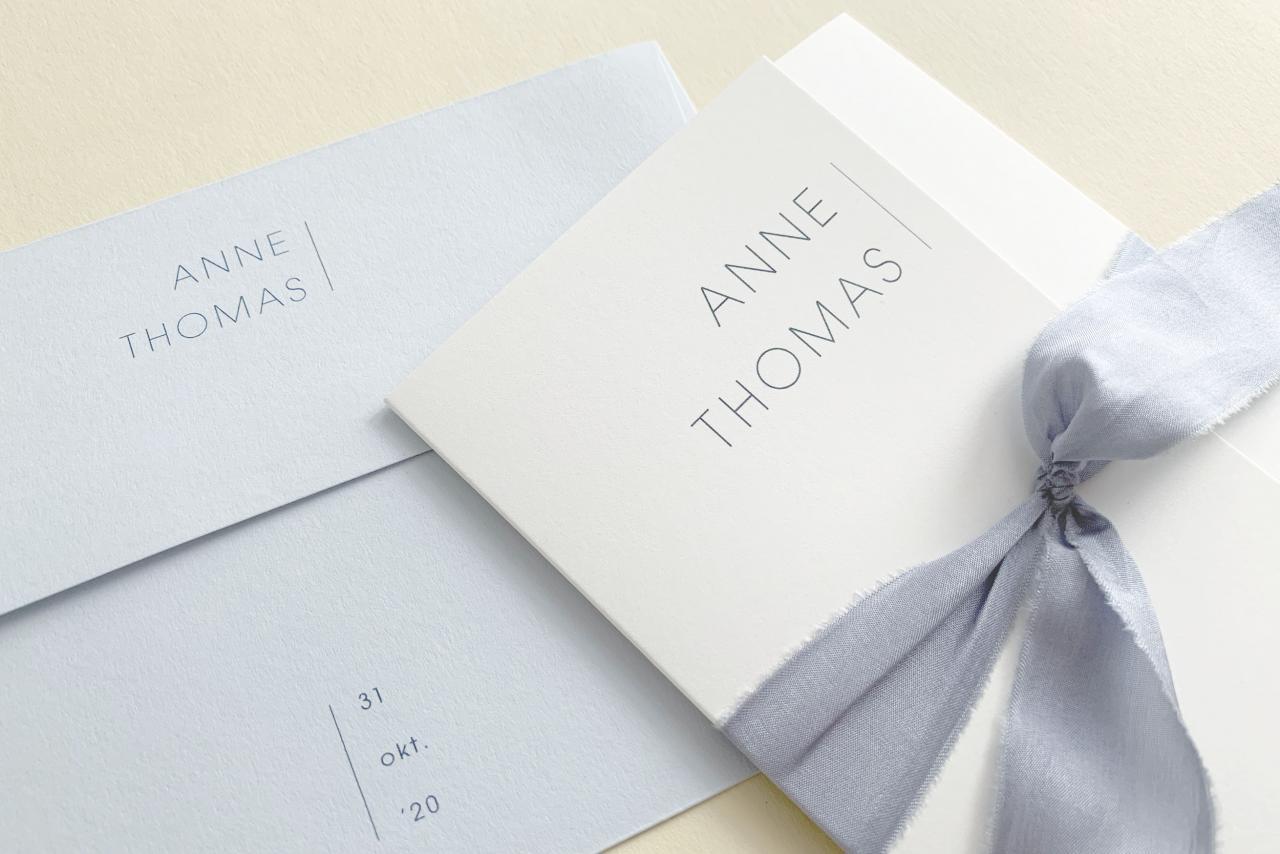 Drieluik met zijde lint trouwkaart Stijlvol Origineel Gevouwen Strak