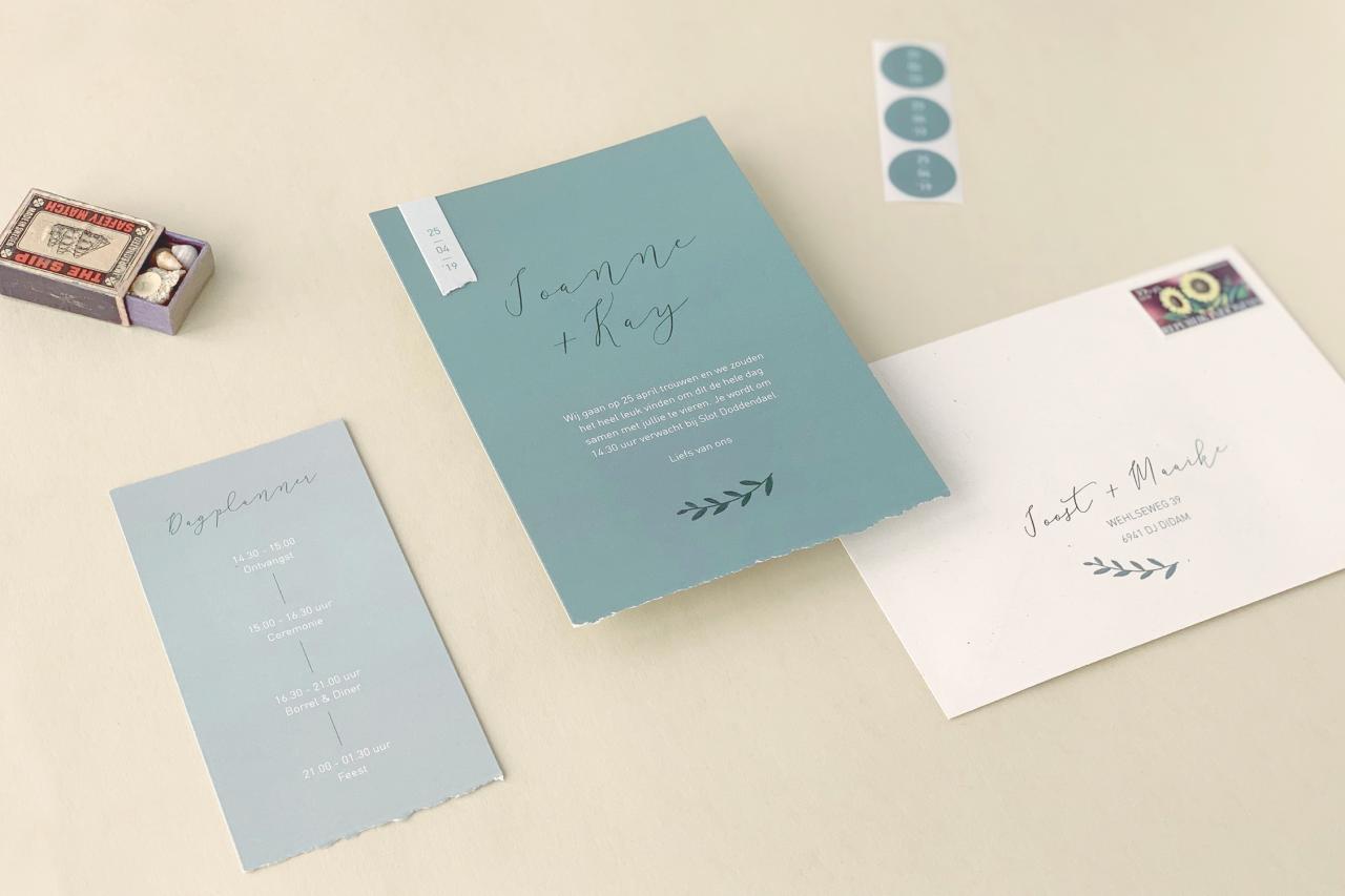 Enkele kaart met minilabel trouwkaart Origineel Modern Handgemaakt Illustratie