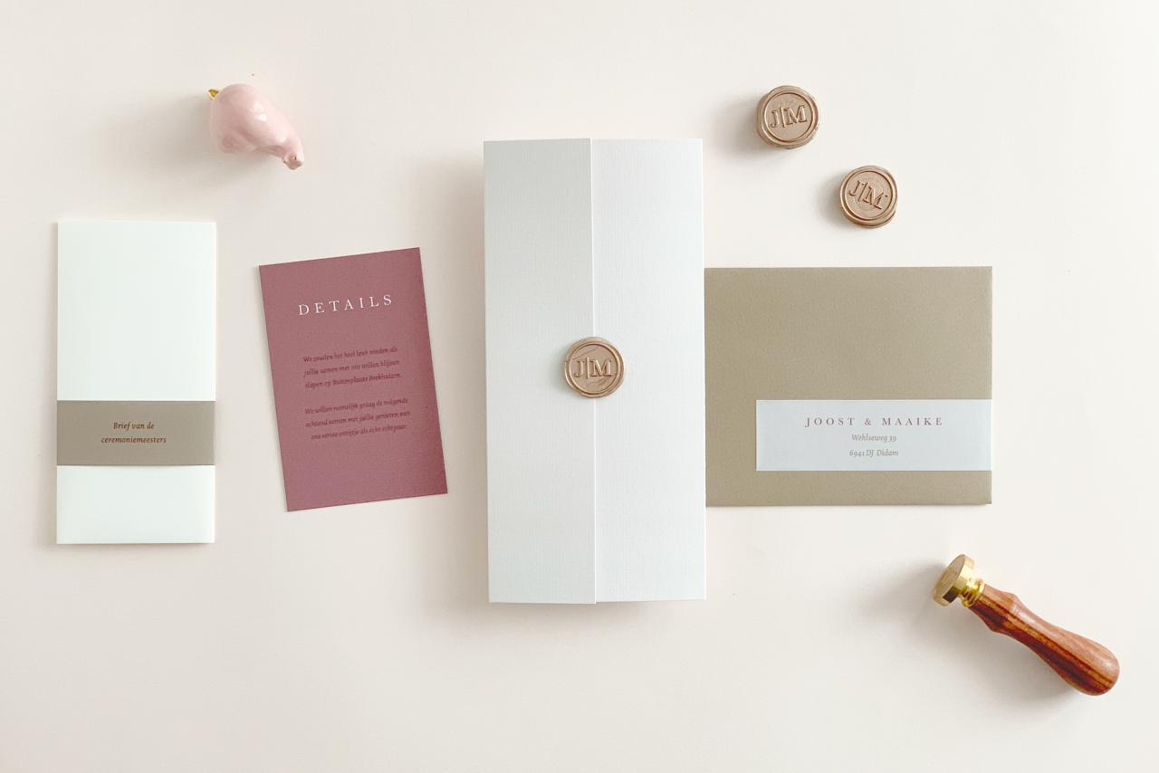 Drieluik met lakzegel trouwkaart Stijlvol Origineel Gevouwen Luxe