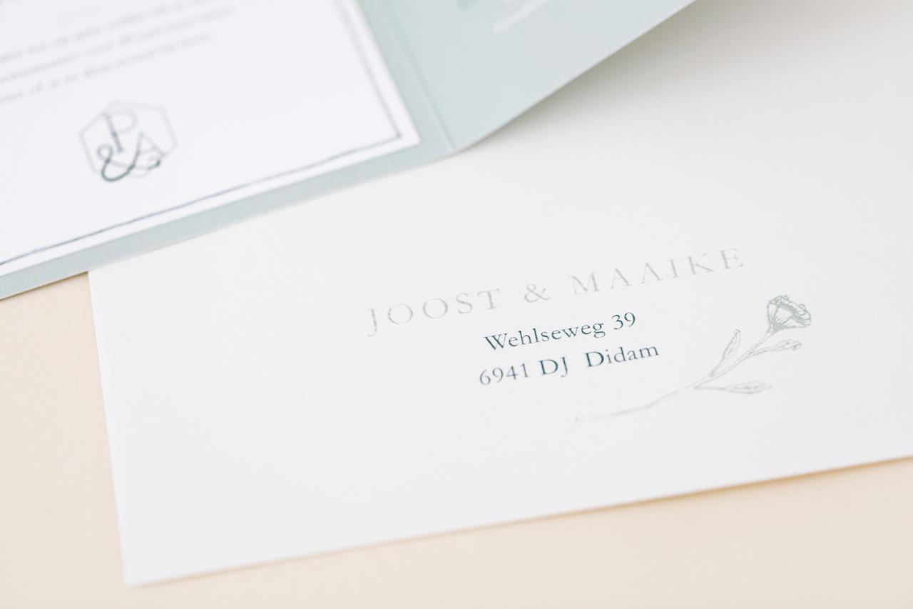 Handgetekende pocketfold trouwkaart Handgemaakt Klassiek Illustratie