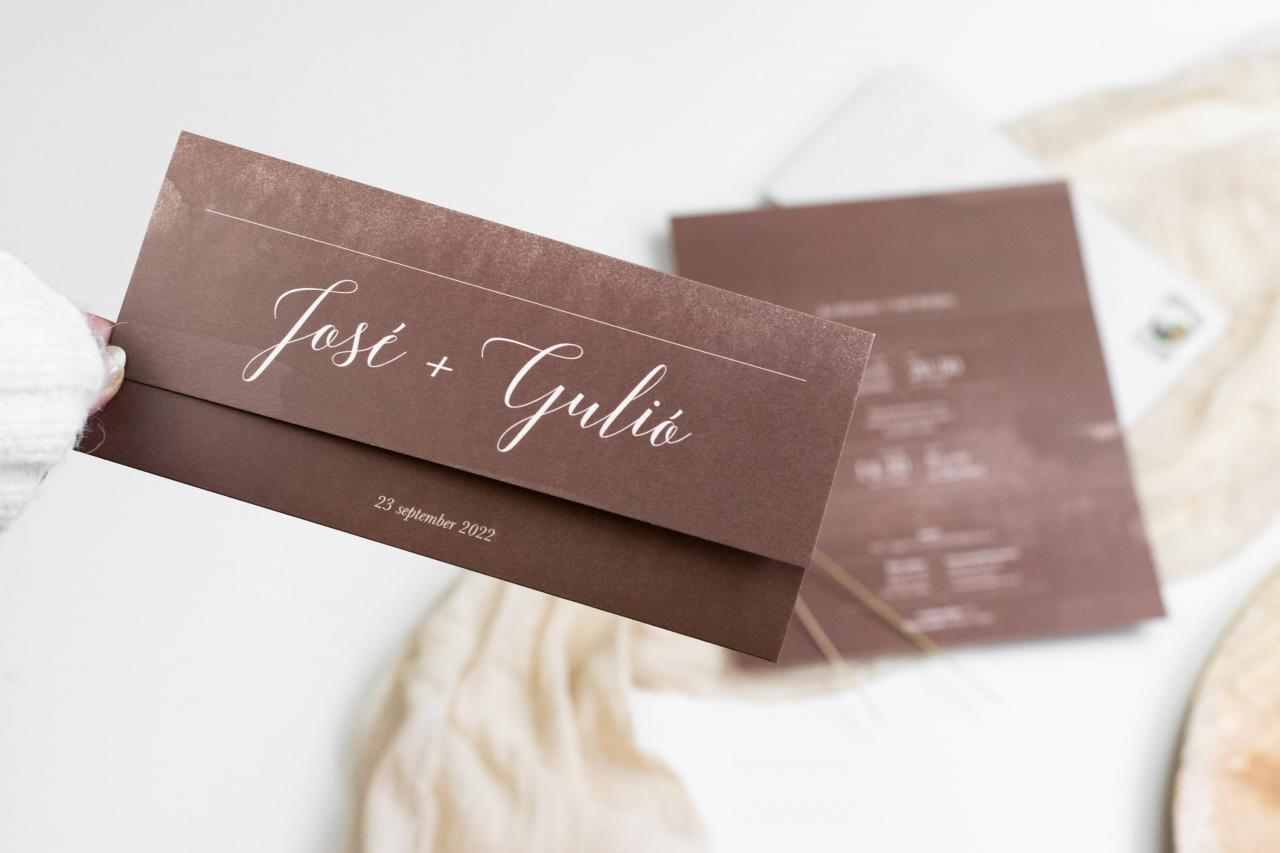 Drieluik trouwkaart met watercolor trouwkaart Aquarel en Watercolor Handgemaakt Modern Gevouwen