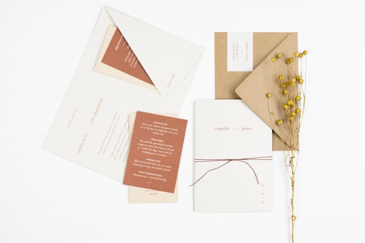 Pocketfold in roestbruin op eco papier trouwkaart Origineel Kraft Handgemaakt Modern