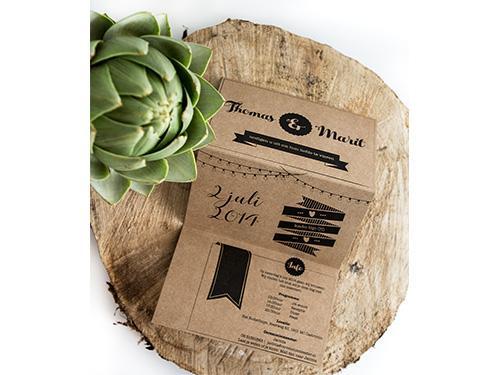 Drieluik gevouwen kaart trouwkaart Kraft Handgemaakt