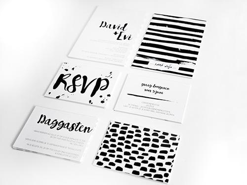 Zwart/wit grafische trouwkaart trouwkaart