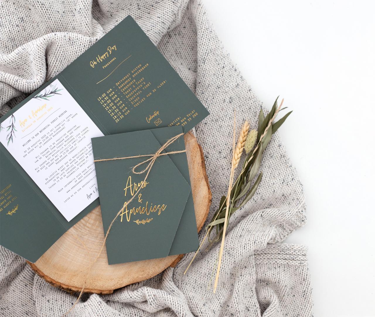 Drieluik trouwkaart met goudfolie trouwkaart Stijlvol Brons zilver en goud Luxe Botanisch