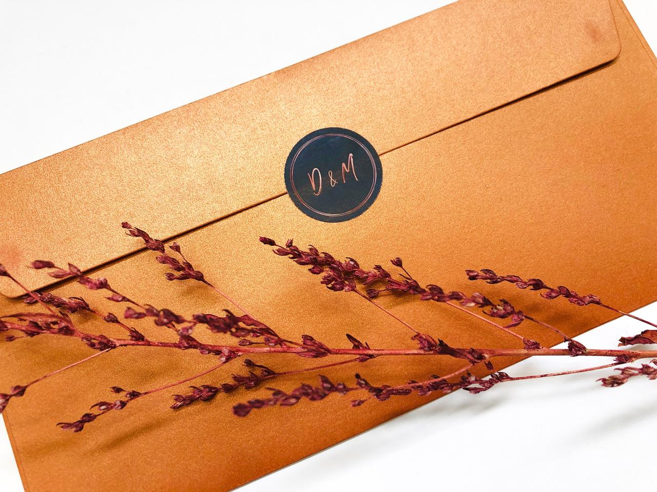 Gevouwen bloemenkaart met koperfolie trouwkaart Stijlvol
