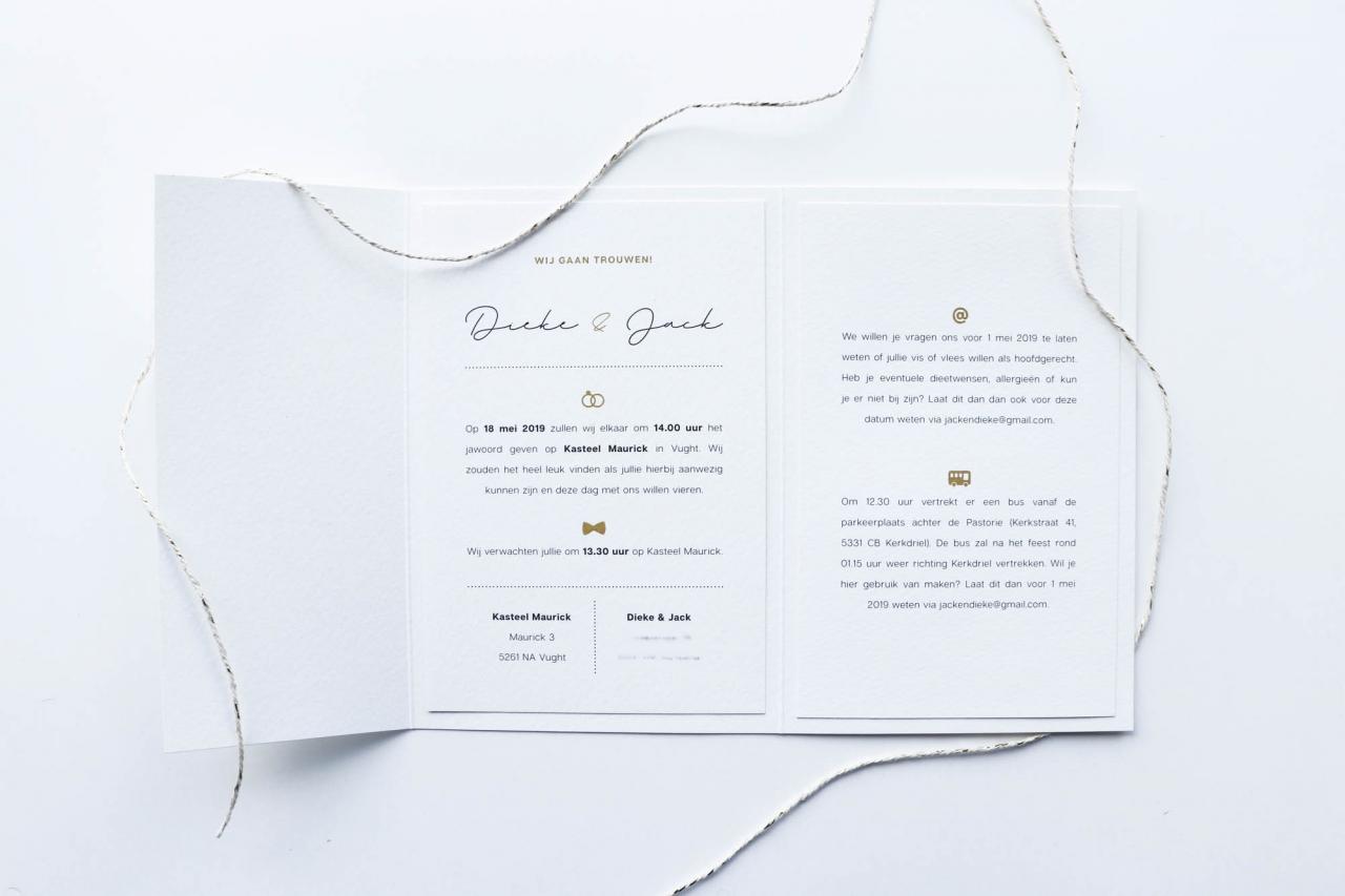 Minimalistische pocketfold trouwkaart  trouwkaart Strak