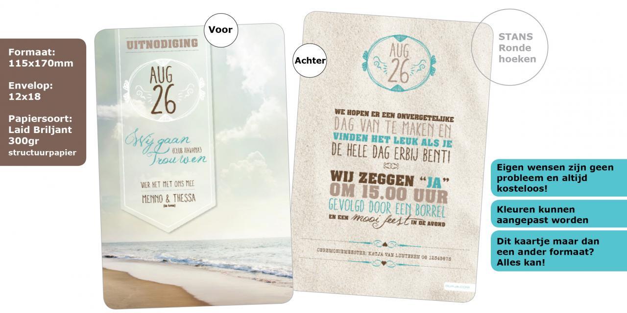 Heerlijk zomers trouwkaart Typografisch Origineel