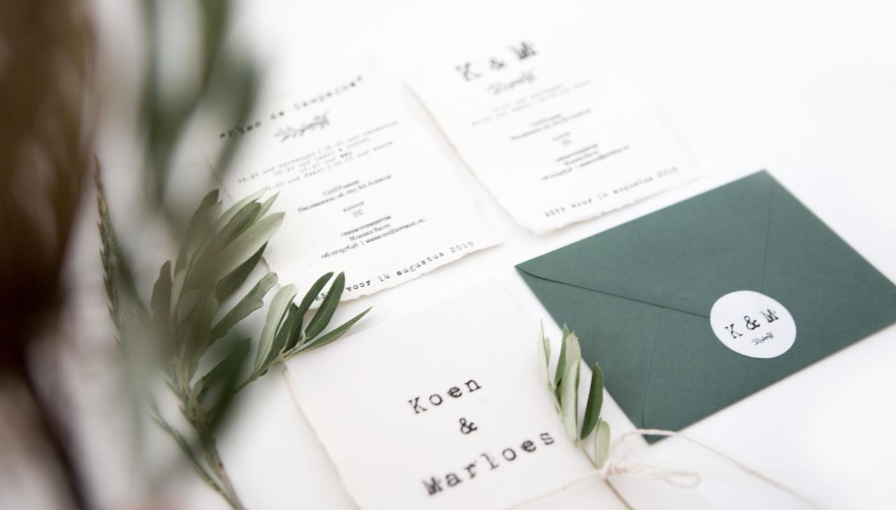 Trouwkaart handgeschept papier en translucent trouwkaart Handgemaakt