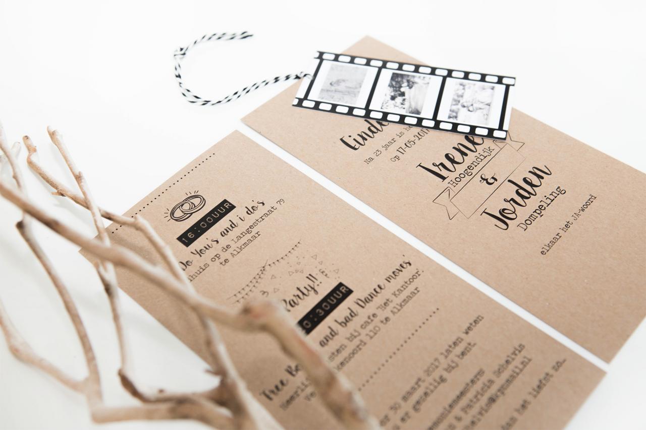 Trouwkaart met filmstrip trouwkaart Foto Kraft Handgemaakt Stoer