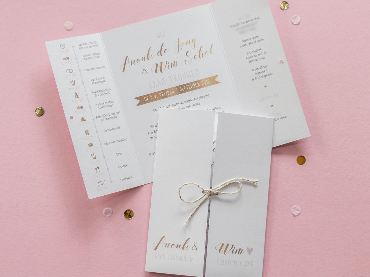 Luikvouw op metallic papier trouwkaart Origineel