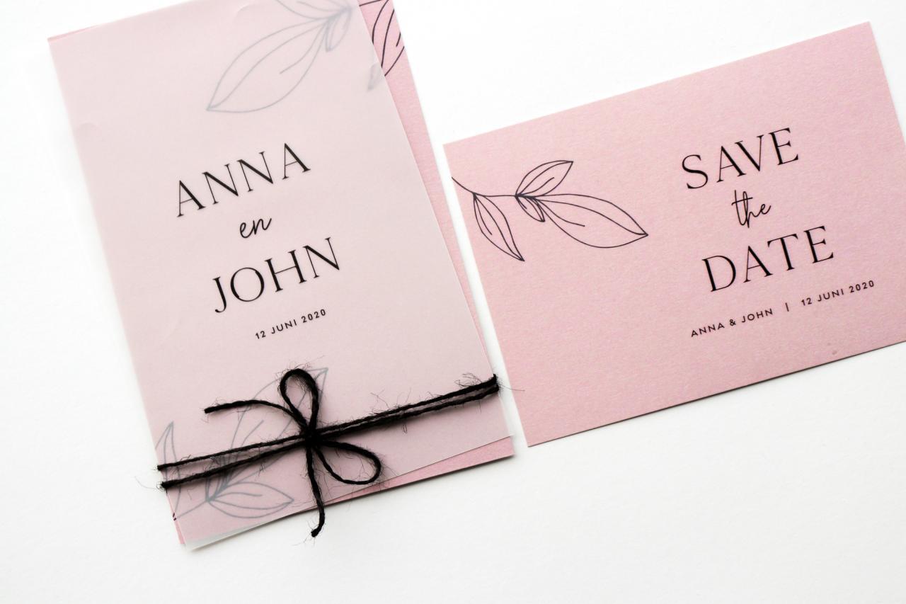 Strakke trouwkaart met kalkpapier trouwkaart Transparant