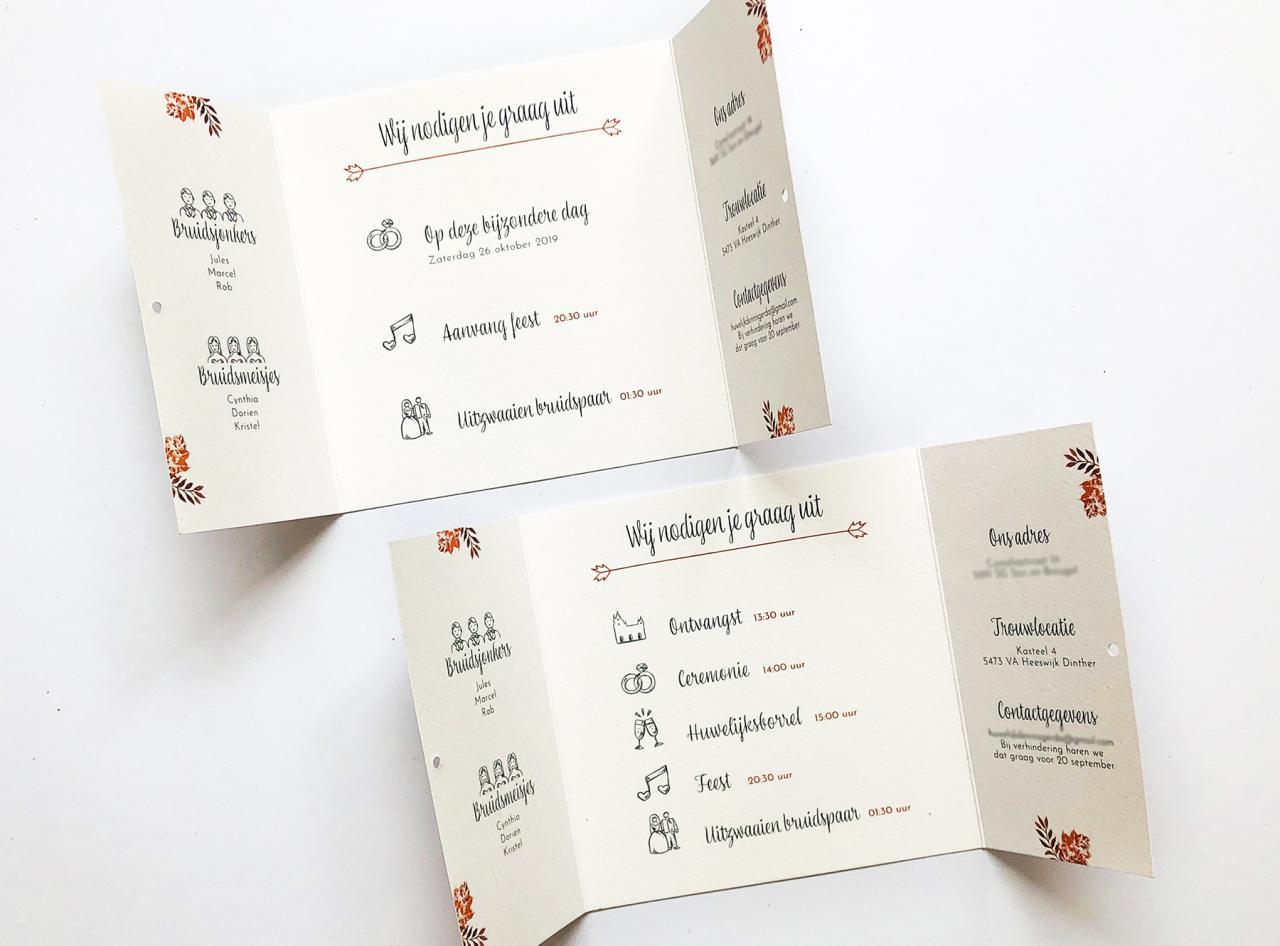 Herfst Luikvouw trouwkaart trouwkaart Klassiek