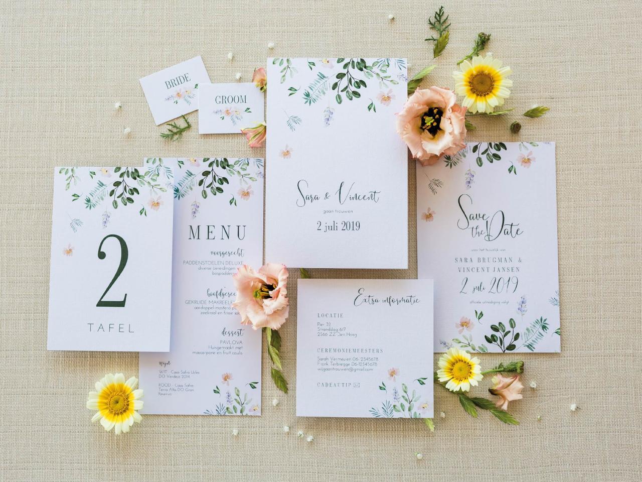 Trouwhuisstijl Sweet Romance trouwkaart Romantisch Aquarel en Watercolor Stijlvol