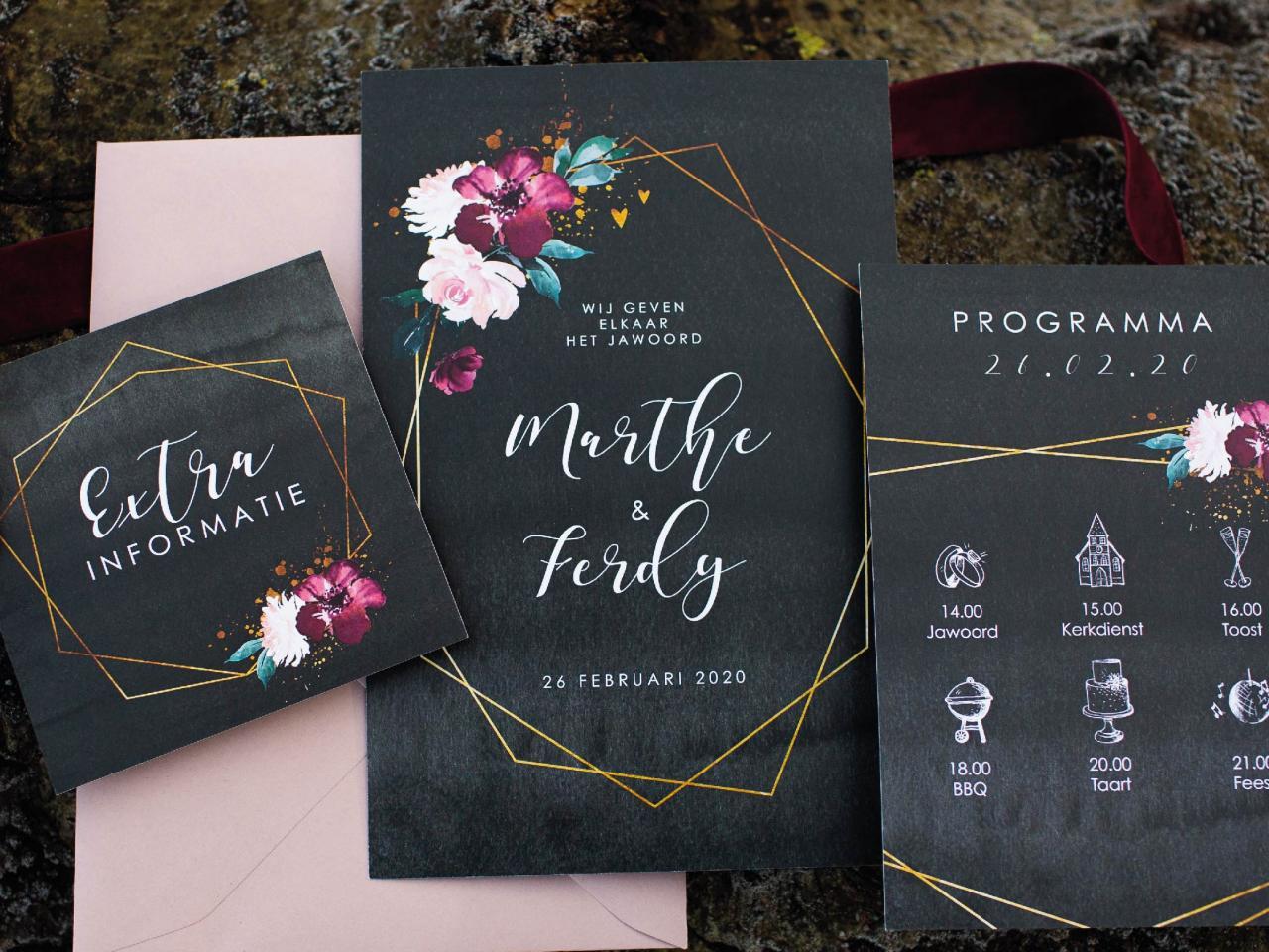 Trouwhuisstijl Moody Geometrisch Flowers trouwkaart Origineel Modern Stoer
