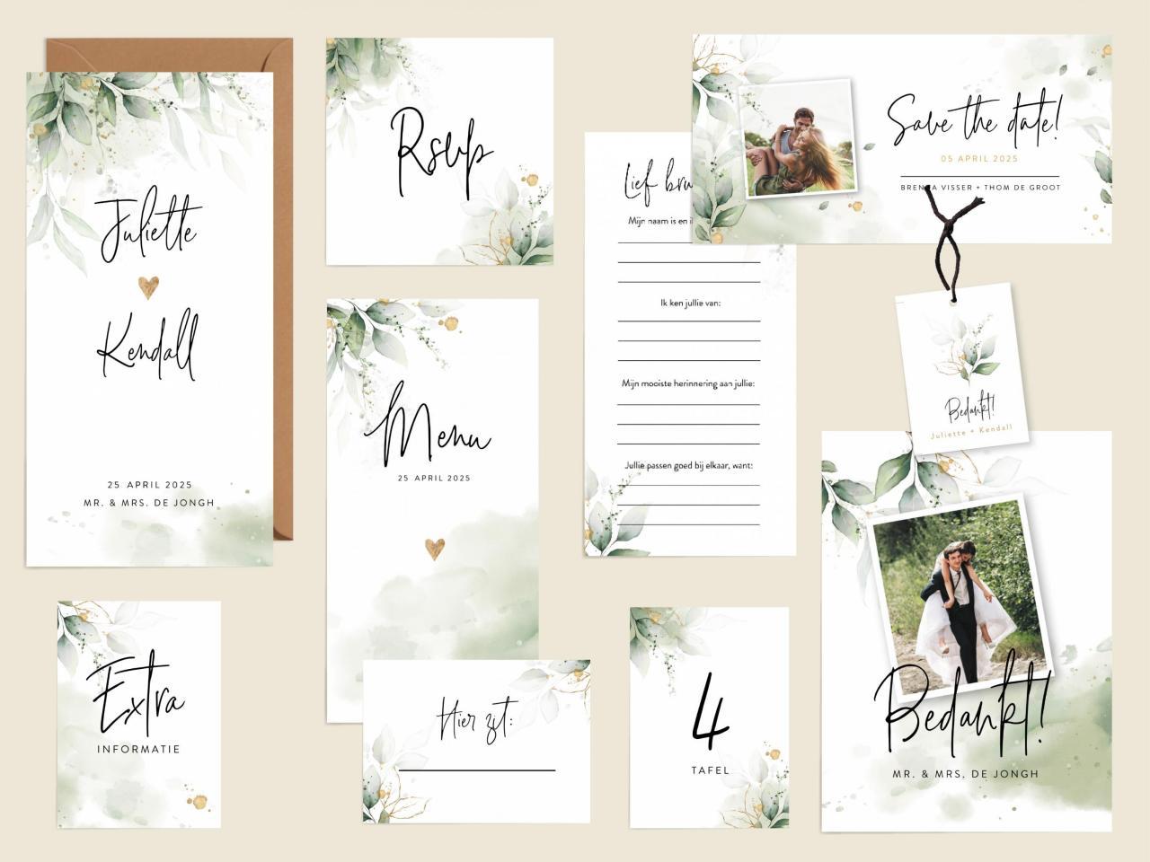 Botanische trouwhuisstijl trouwkaart Botanisch Aquarel en Watercolor Romantisch Stijlvol