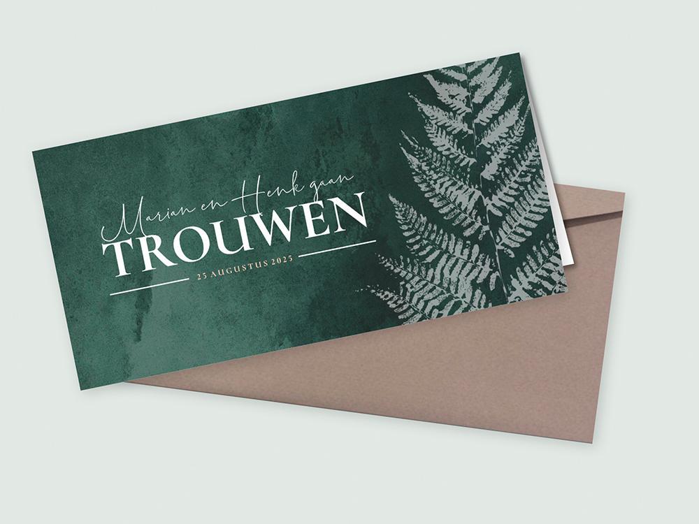 Donkergroene trouwkaart met varen en tijdlijn trouwkaart Stijlvol Modern Botanisch Aquarel en Watercolor