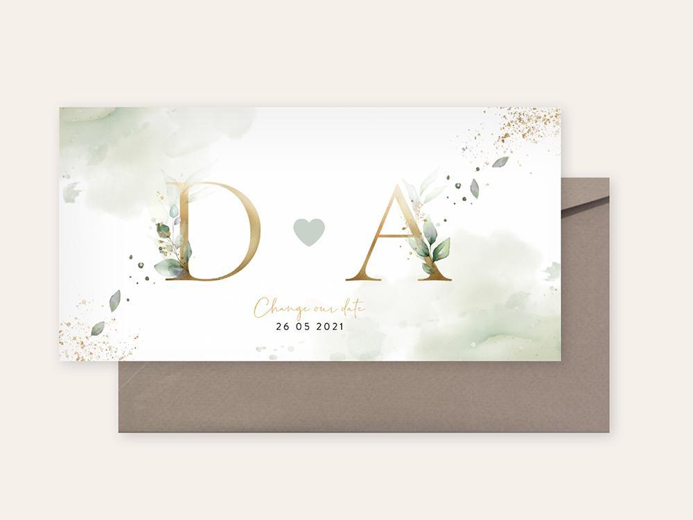 Change our date kaart met goudkleurige initialen trouwkaart Stijlvol Save the Date Aquarel en Watercolor Botanisch
