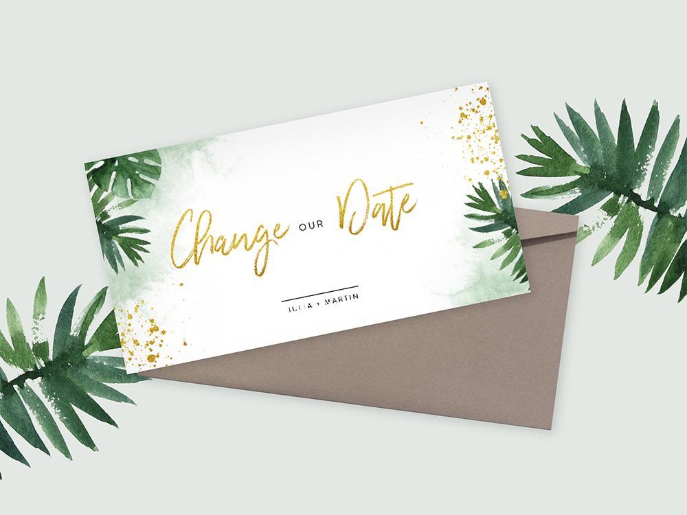 Change our date kaart met bladeren en goud trouwkaart Save the Date Stijlvol Modern Aquarel en Watercolor
