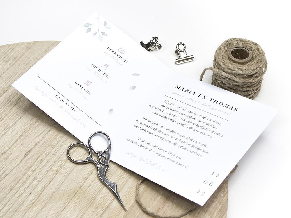 DIY trouwkaart krans met bladeren trouwkaart Botanisch Origineel Aquarel en Watercolor Romantisch