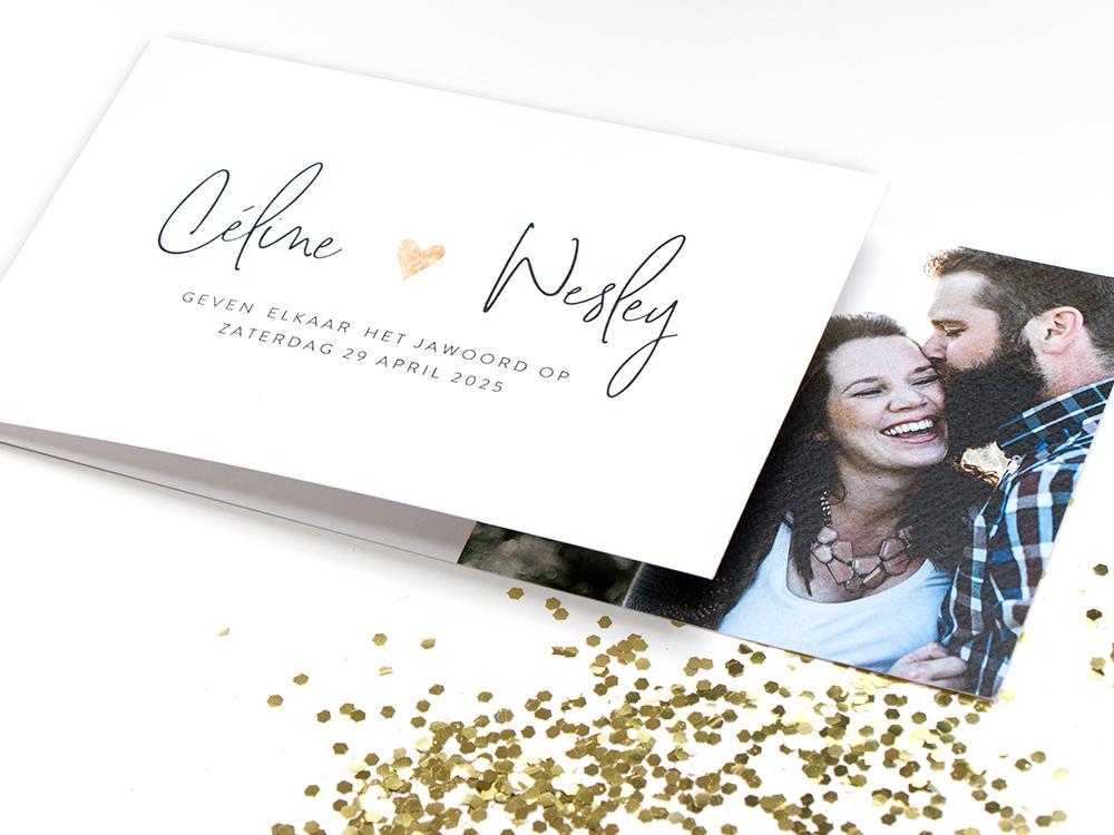 Minimalistische DIY trouwkaart trouwkaart Modern Brons zilver en goud Typografisch Gevouwen