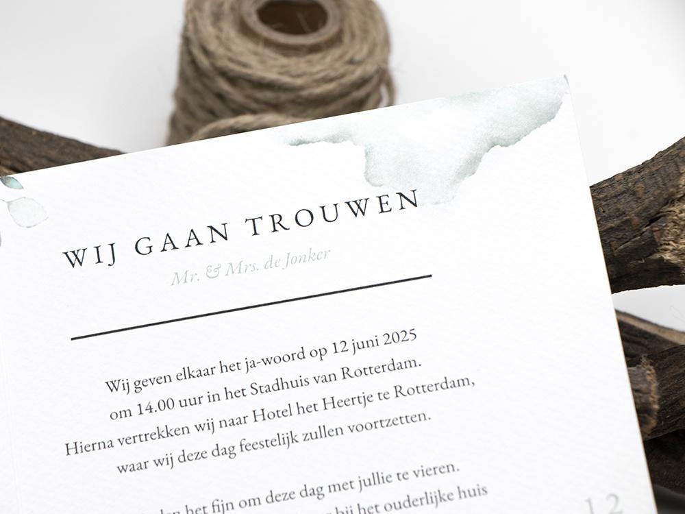 DIY trouwkaart grijsgroene bladeren trouwkaart Botanisch Aquarel en Watercolor Origineel Romantisch