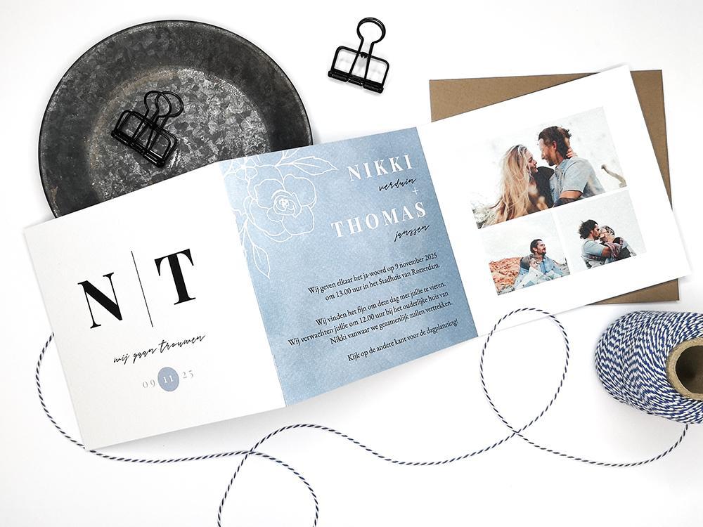 Drieluik trouwkaart met initialen trouwkaart Aquarel en Watercolor Klassiek Typografisch Modern