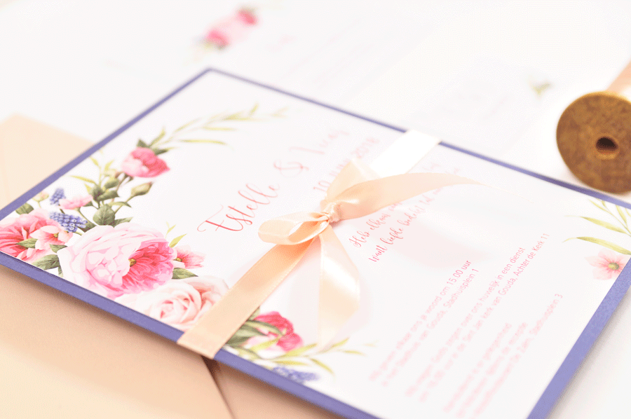Gestylde trouwkaart vintage flowers trouwkaart Origineel Romantisch