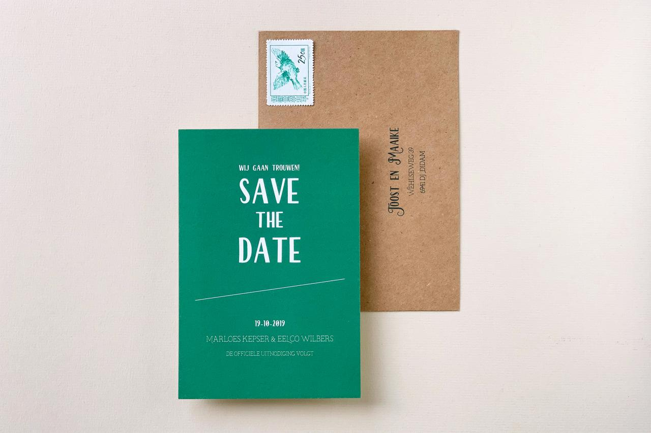 save the date in groen met kraft trouwkaart Save the Date