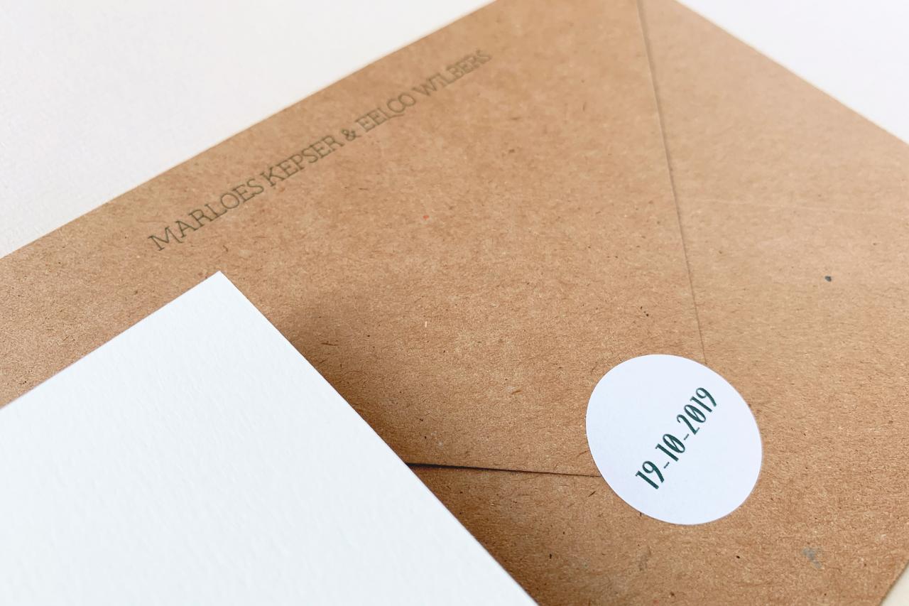 save the date in groen met kraft trouwkaart Save the Date