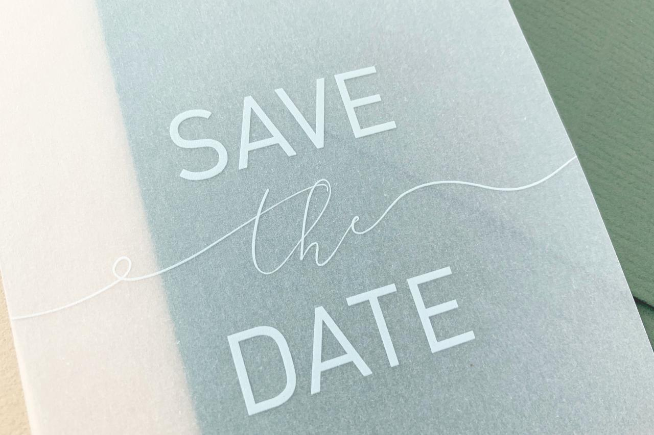 transparante save the date trouwkaart Save the Date Transparant / Doorzichtig
