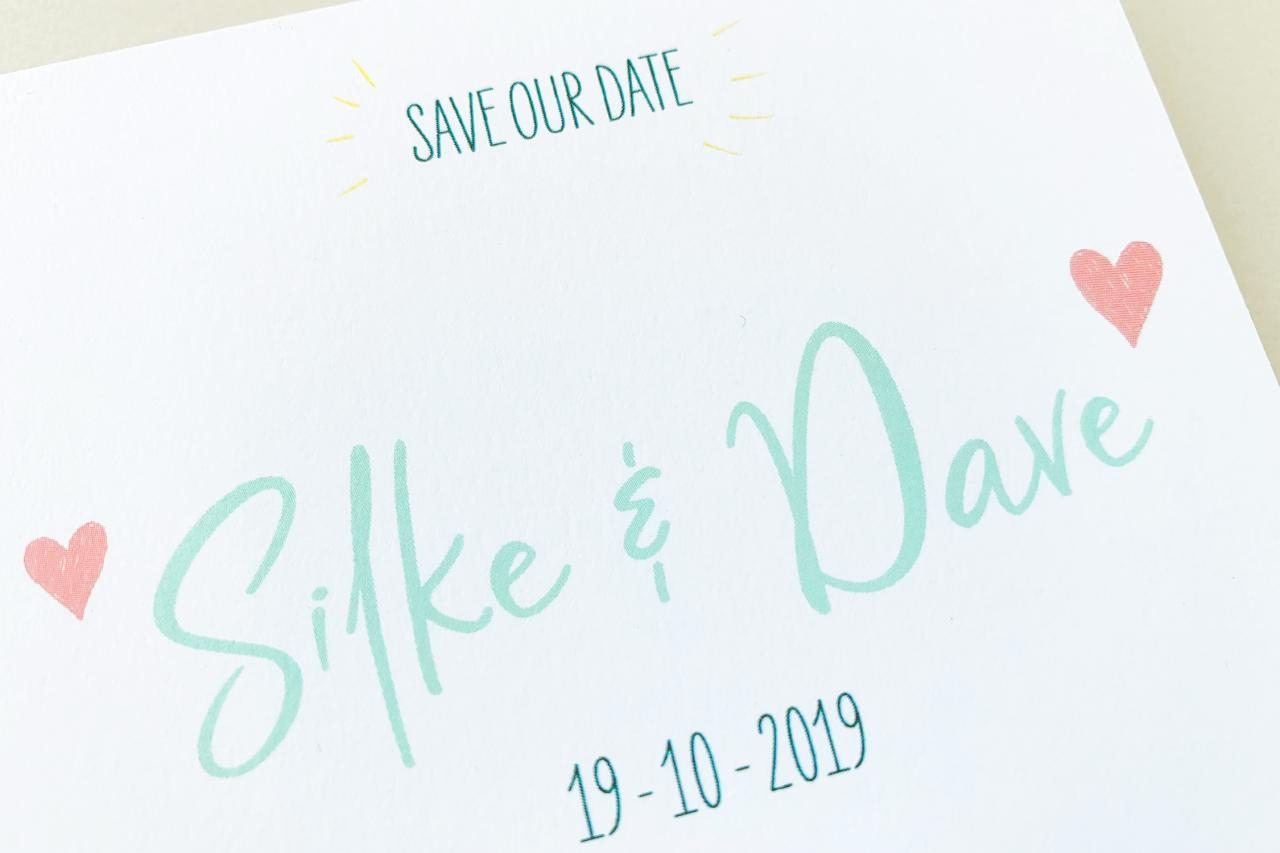 persoonlijk ontworpen save the date trouwkaart Save the Date