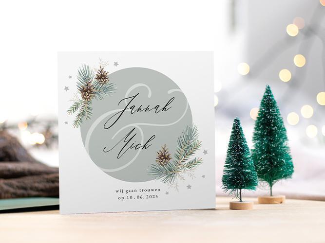 Kerstkaart trouwen met dennenappels en sterretjes trouwkaart Stijlvol Romantisch Aquarel en Watercolor Save the Date