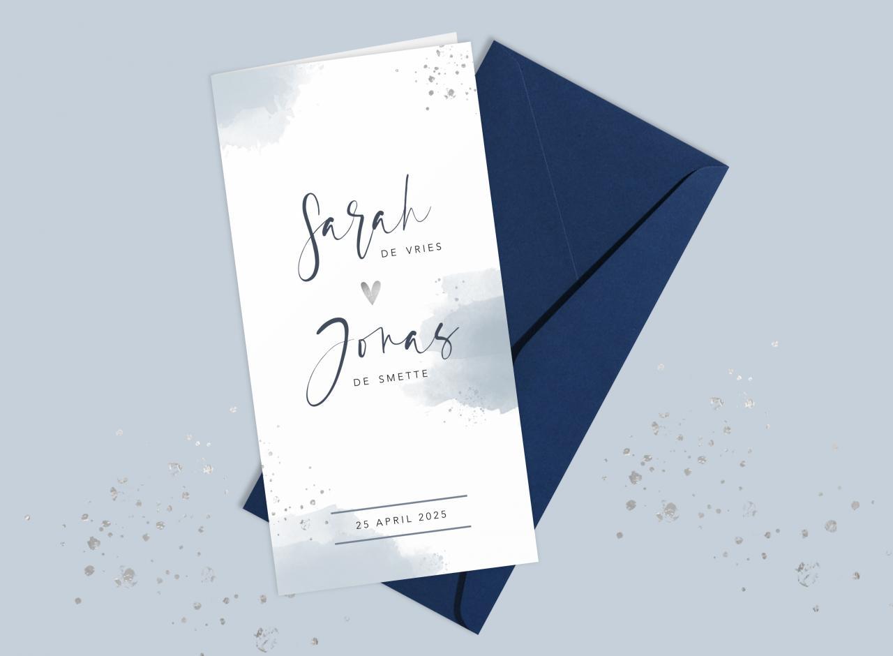 Trouwkaart met lichtblauwe waterverf trouwkaart Aquarel en Watercolor Stijlvol Origineel Romantisch