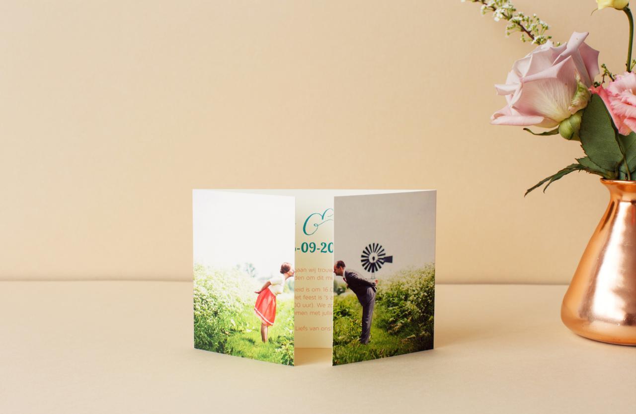 Luikgevouwen met foto opdruk trouwkaart Foto Retro Origineel Gevouwen