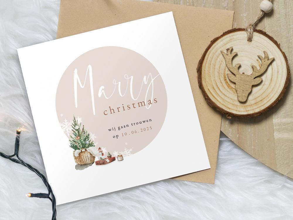 Kerstkaart Marry Christmas met kerstboompje trouwkaart Origineel Save the Date Aquarel en Watercolor Romantisch