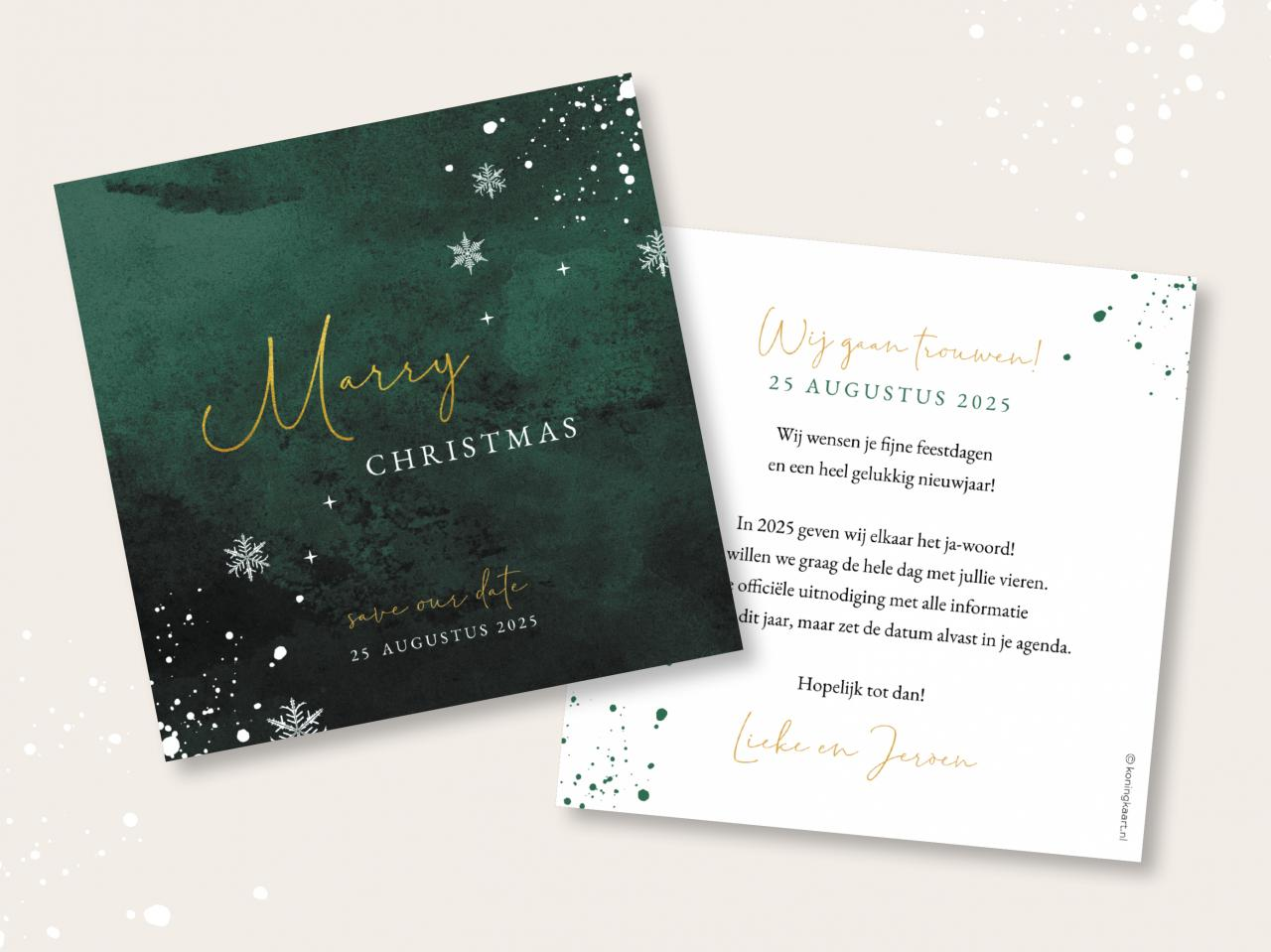 Kerst save the date kaart met donkergroene waterverf trouwkaart Stijlvol Origineel Aquarel en Watercolor Save the Date