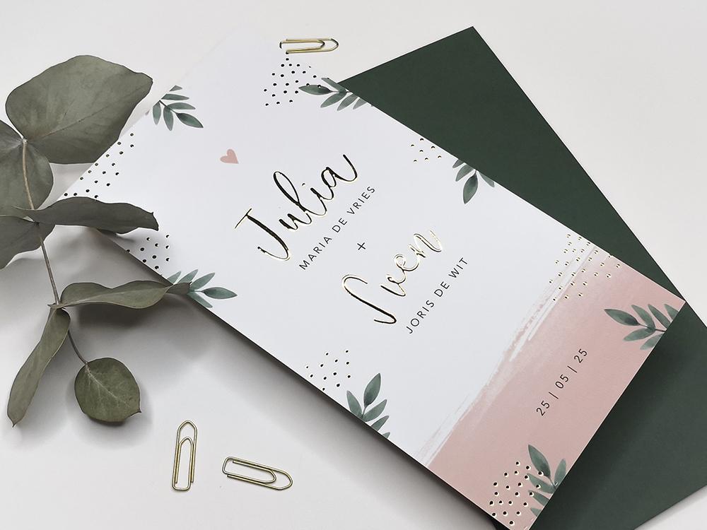 Trouwkaart roze waterverf, bladeren en gouden stipjes trouwkaart Romantisch Brons zilver en goud Romantisch Botanisch