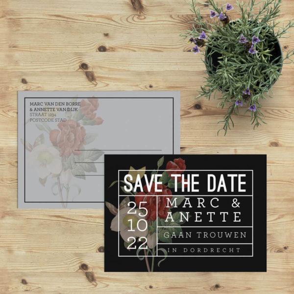 Save the date kaartje Tekst op Bloemen trouwkaart Botanisch