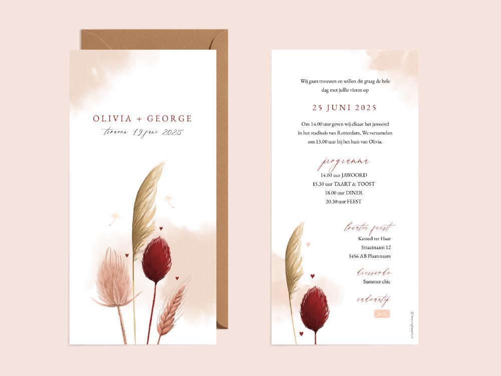 Trouwkaart met roze waterverf en droogbloemen trouwkaart Stijlvol Romantisch Aquarel en Watercolor Botanisch