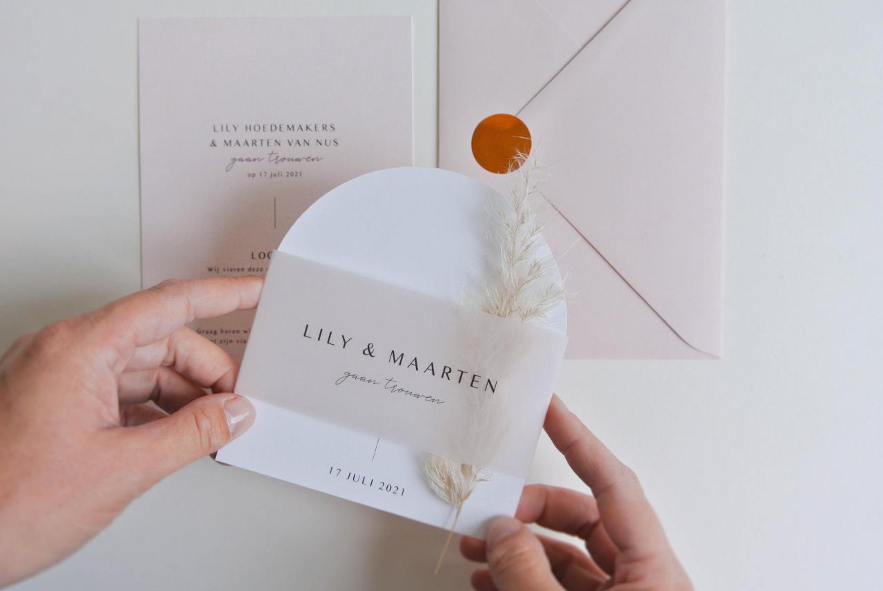 Lily & Maarten trouwkaart Modern